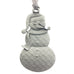 A mischievous looking snowman Christmas Tree ornament. Made from Pewter. Silver ribbon. Made in Fredericton NB New Brunswick Canada
