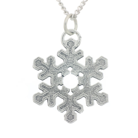 Snowflake Pendant. Polish finish. Made from Pewter. Necklace. Made in Fredericton NB New Brunswick Canada