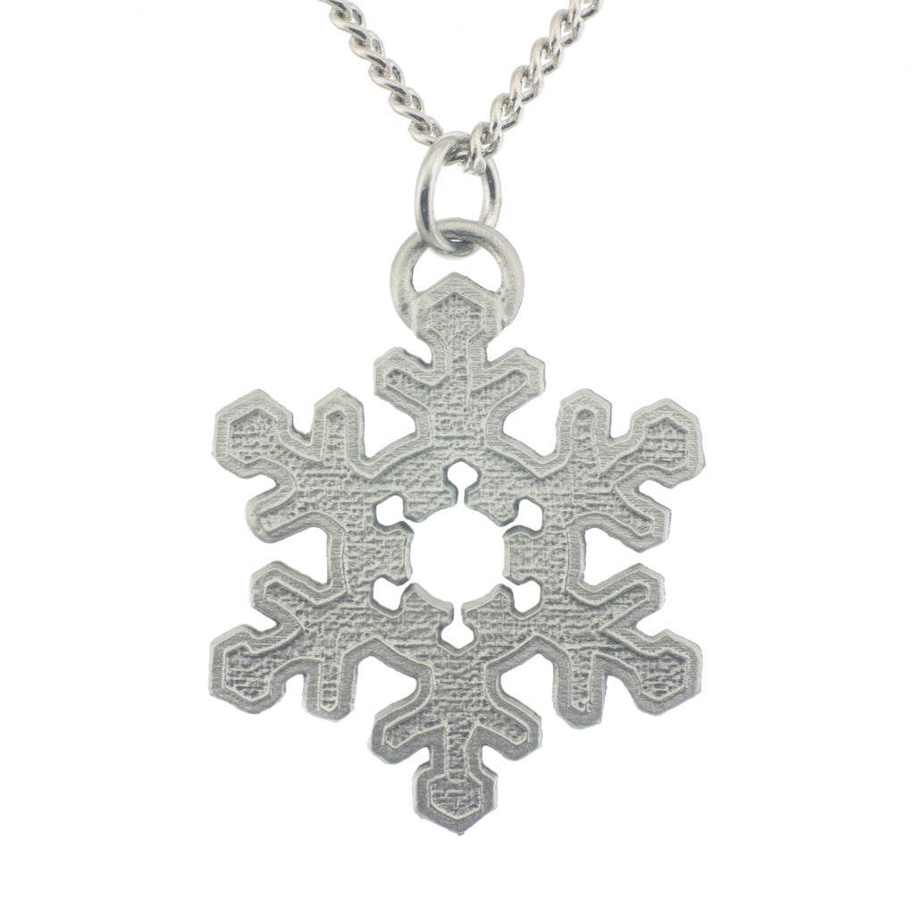 Snowflake Pendant. Satin finish. Made from Pewter. Necklace. Made in Fredericton NB New Brunswick Canada