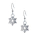 Snowflake Earring. Polish finish. Made from Pewter. Made in Fredericton NB New Brunswick Canada