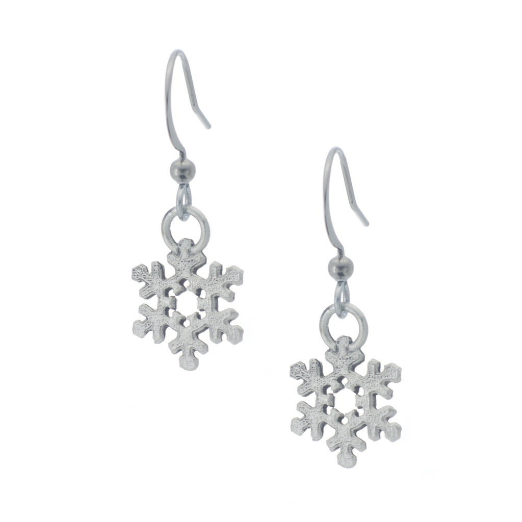 Snowflake Earring. Satin finish. Made from Pewter. Made in Fredericton NB New Brunswick Canada