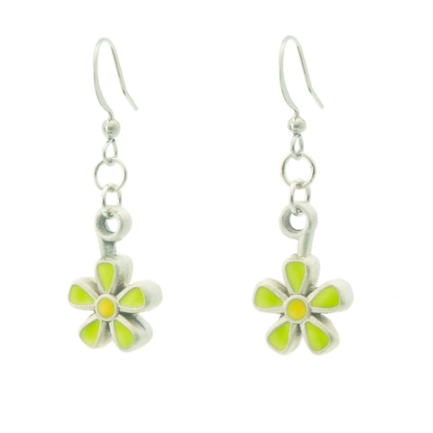 Spring Blossom Earrings. Green and yellow enamel. Made from Pewter. Made in Fredericton NB New Brunswick Canada