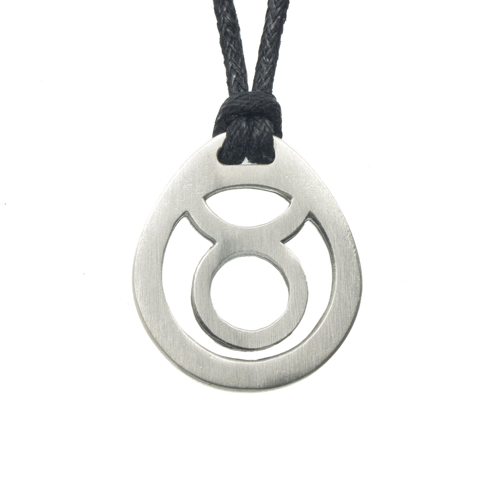 Taurus Zodiac Pendant. Made from Pewter. Black cord. Necklace. Made in Fredericton NB New Brunswick Canada