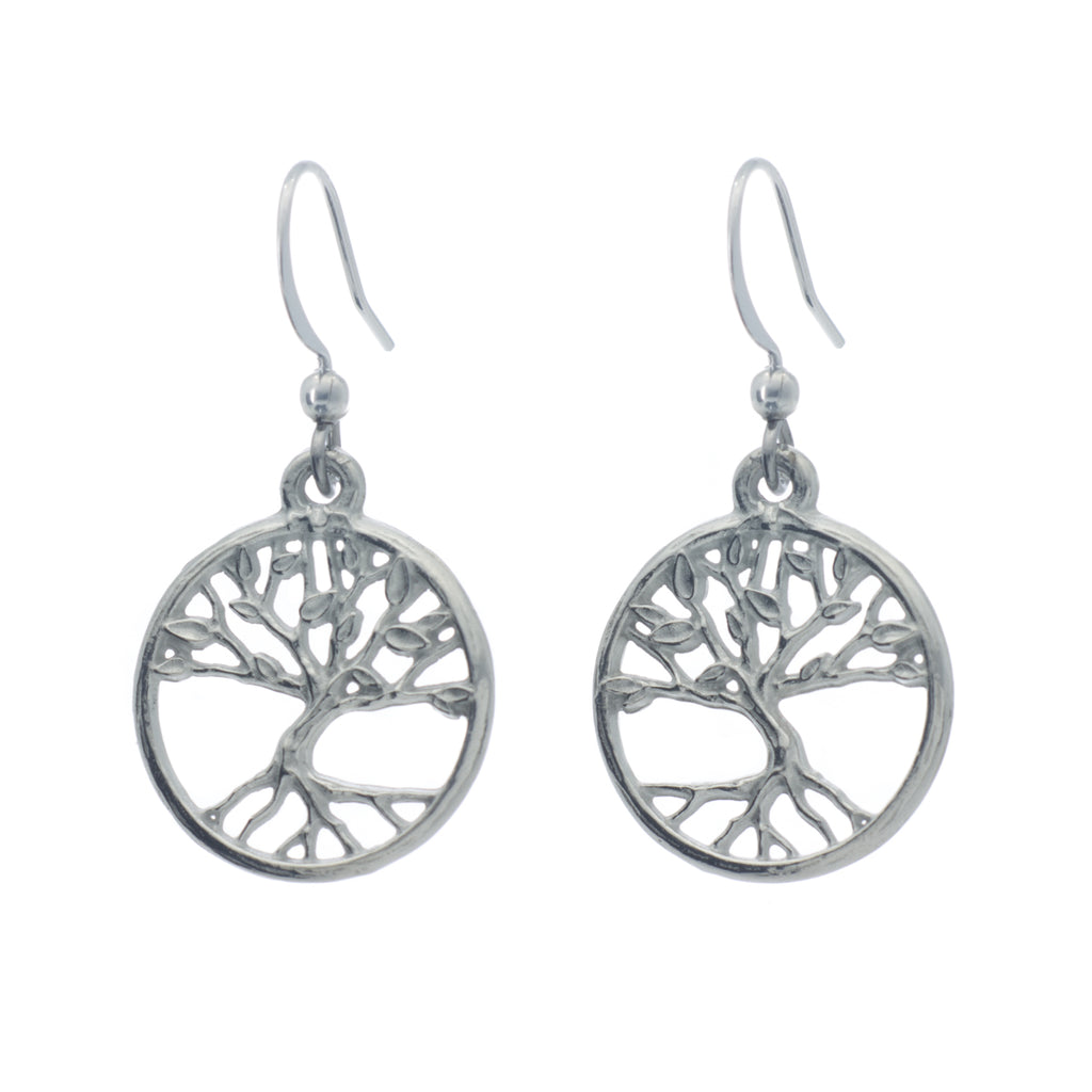 Tree of Life Earrings. Polish finish. Made from Pewter. Made in Fredericton NB New Brunswick Canada