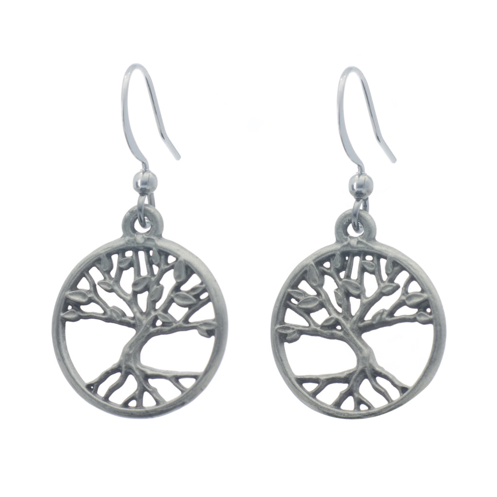 Tree of Life Earrings. Satin finish. Made from Pewter. Made in Fredericton NB New Brunswick Canada