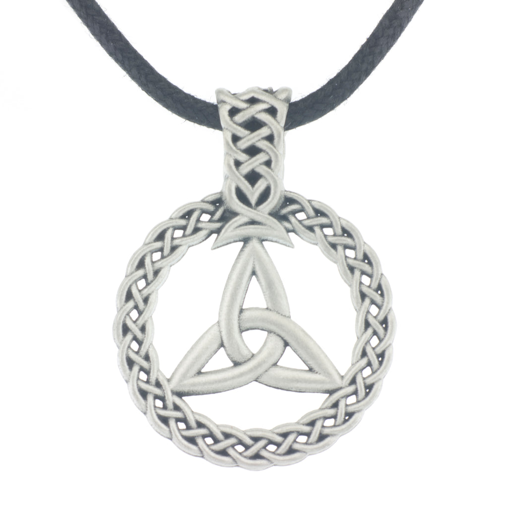 Trinity Wreath Pendant. Made from Pewter. Black cord necklace. Made in Fredericton NB New Brunswick Canada