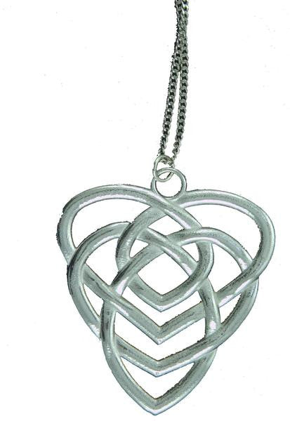 celtic knot motherhood pewter pendant heart design