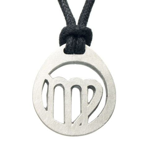 Virgo Zodiac Pendant. Made from Pewter. Black cord. Necklace. Made in Fredericton NB New Brunswick Canada
