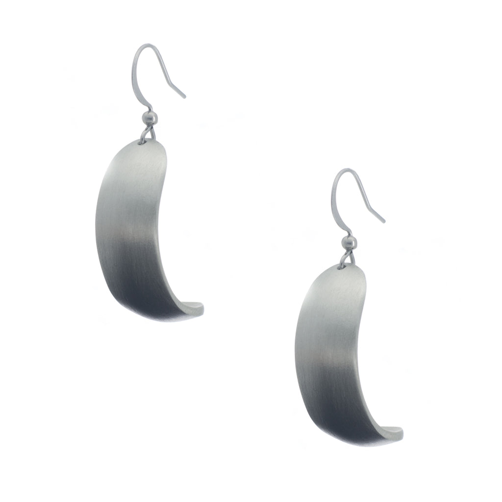 Vogue Earring. Satin finish. Made from Pewter. Made in Fredericton NB New Brunswick Canada