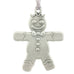 Gingerbread man. Christmas Tree ornament. Made from Pewter. Silver ribbon. Made in Fredericton NB New Brunswick Canada