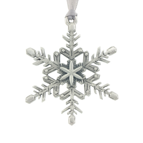 Winter frost. Snowflake. Christmas Tree ornament. Made from Pewter. Silver ribbon. Made in Fredericton NB New Brunswick Canada