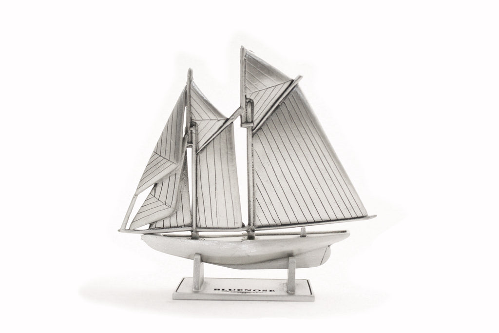 pewter bluenose miniature with stand