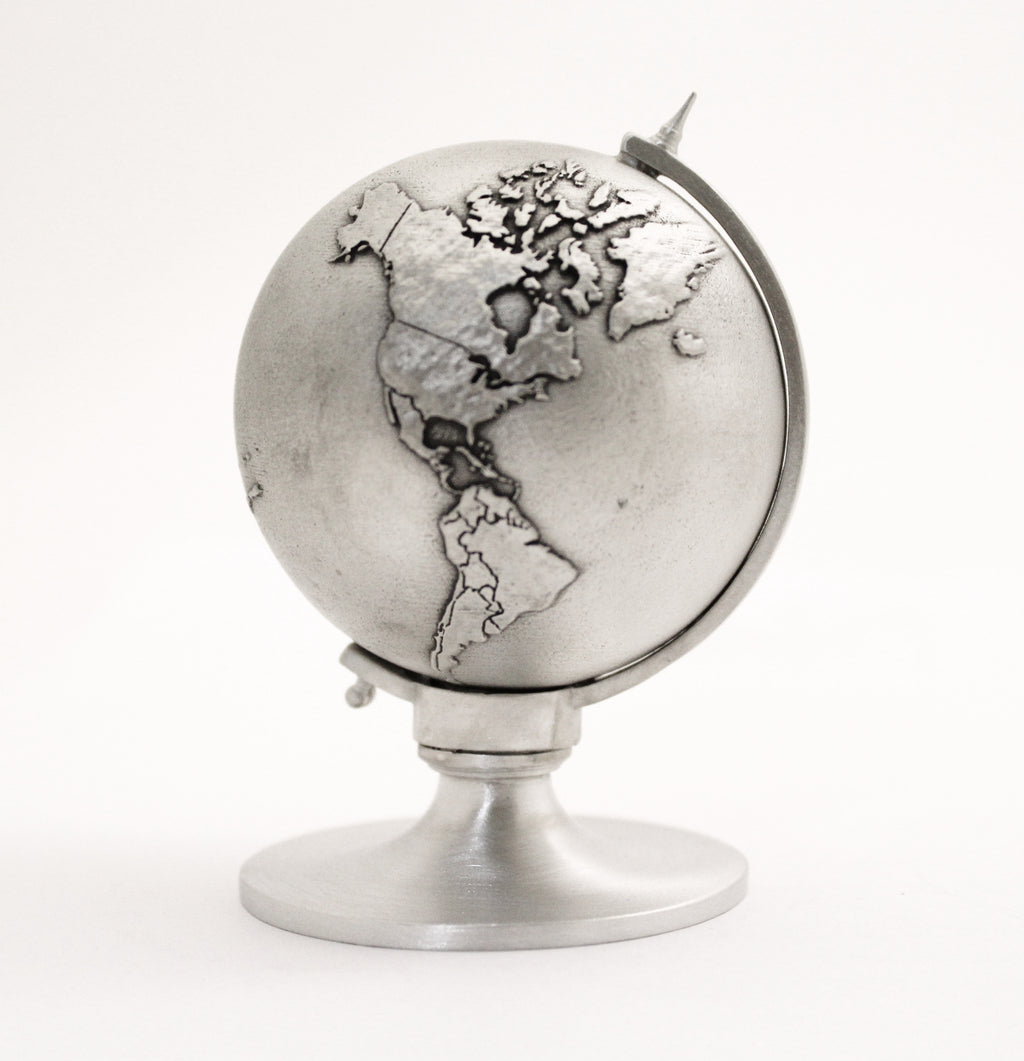 pewter globe miniature figurine