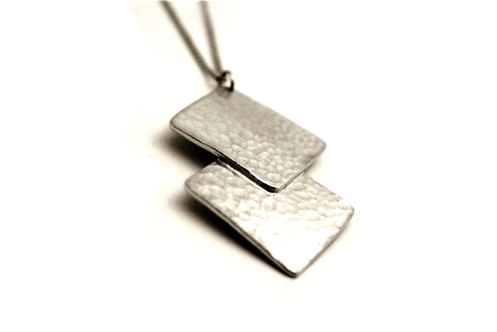 Hammered Square Pewter Pendant