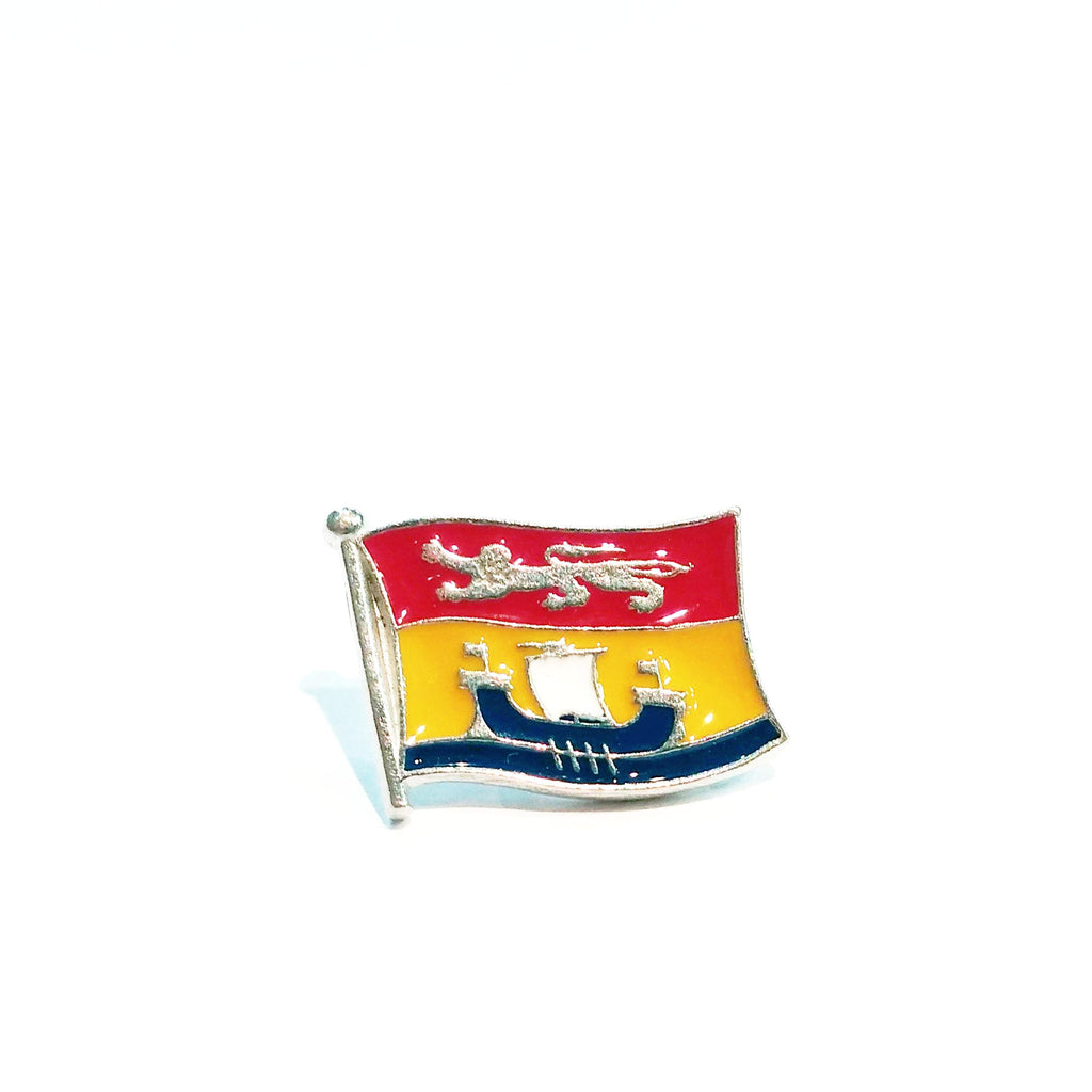 New Brunswick Flag with red yellow and blue enamel pewter lapel pin