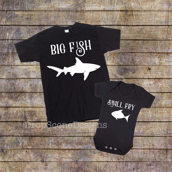 abe964746 Matching BIG FISH Little Fry - Mens T Shirt With Short Sleeve Bodysuit /  Babygrow / Onesie Father's Day Gift Set / Dad and Child / Fishing