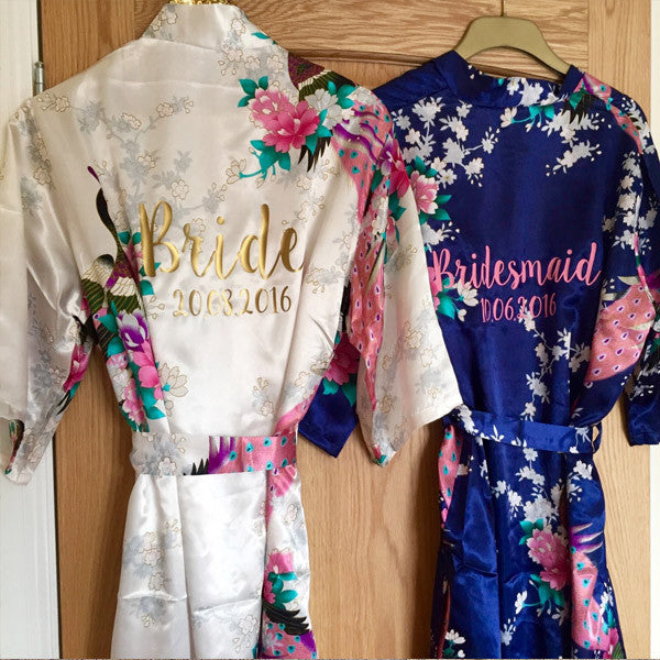 Wedding Satin Floral Dressing Gowns (LONG) Robe for Bride ...
