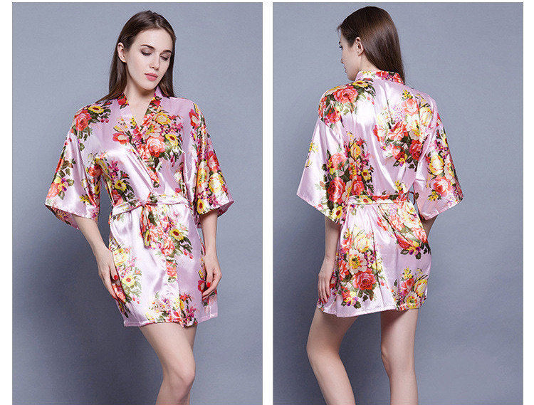 Personalised Wedding Satin Floral Dressing Gowns SHORT Robe For Bride Bridesmaid Maid