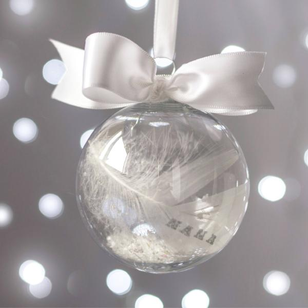 online store 9ed96 3c5f0 Personalised Memorial / Rememberance Bauble - For Christmas / Xmas  Decoration / Hanging Ornament / Feather with Name
