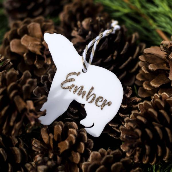 Personalised Polar Bear Christmas Baubles Xmas Decoration 1st