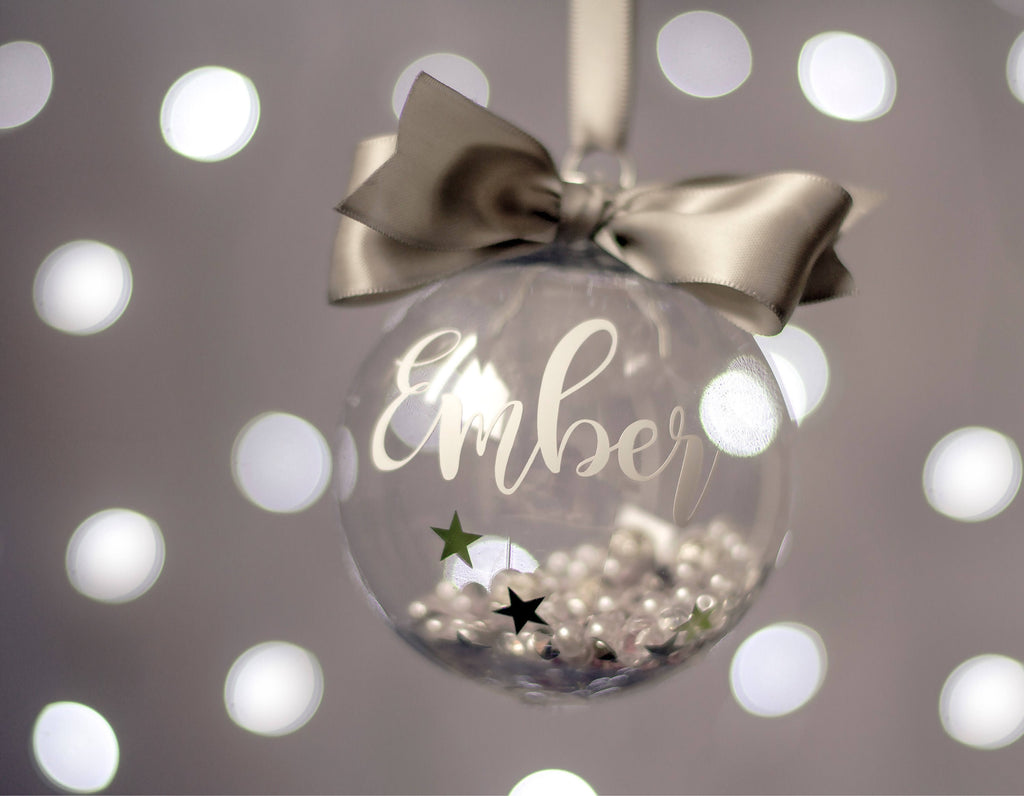Personalised Christmas Bauble - Name and Year - Filled with Sparkly ...