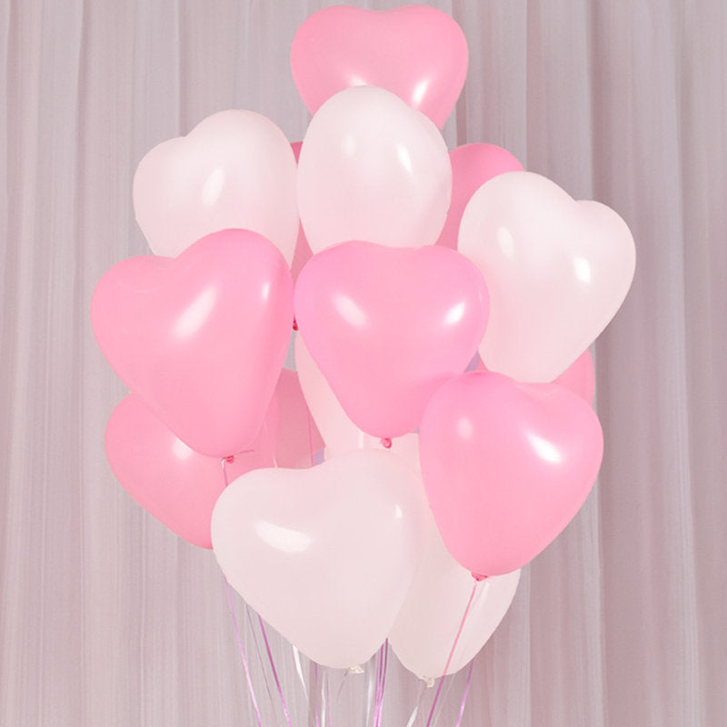 pink and white heart balloons wedding prop photography