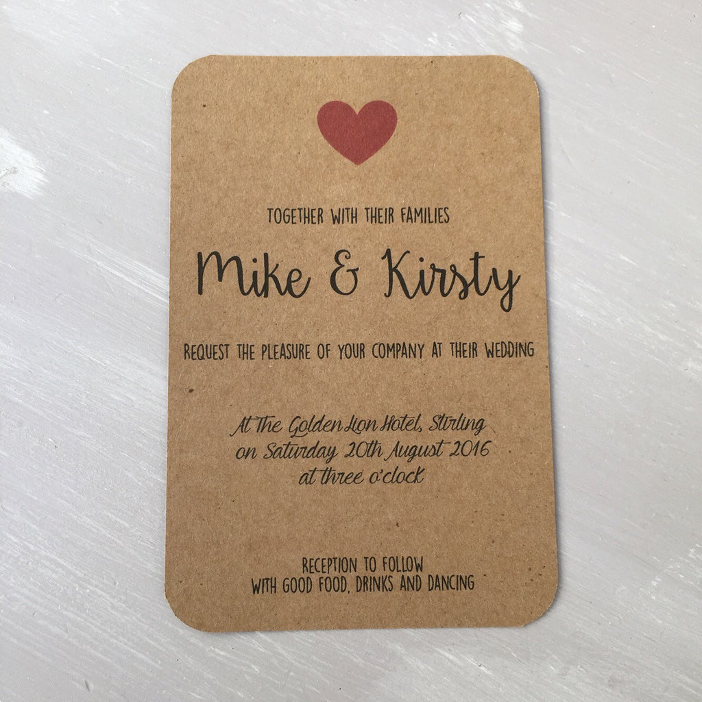 Wedding Invitation - Rustic Charm Red Hearts on Brown Card - set of ...