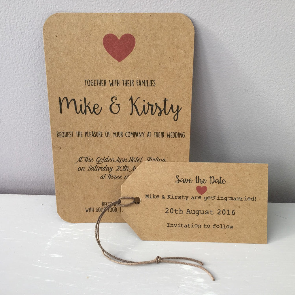 wedding invitation rustic charm red hearts on brown card set of