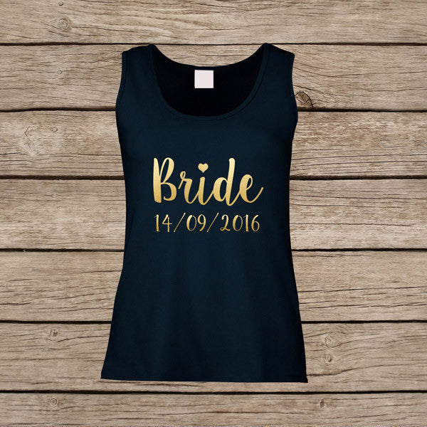 dbd750df272 Personalised Wedding Vest Tops for Bride   Bridesmaid   Maid of Honour    Bridal Party