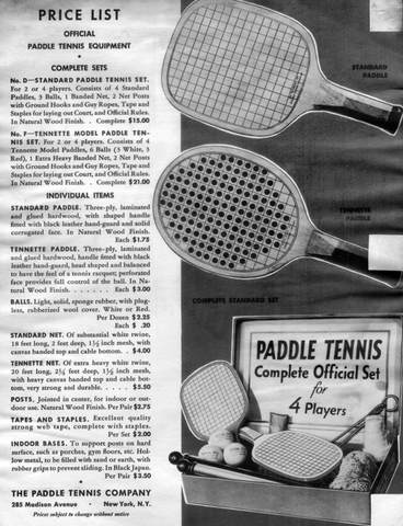 Paddle tennis prices in the 1920s