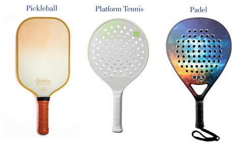 Paddle Racket, Padel Racket, Pickleball Racket differences chart