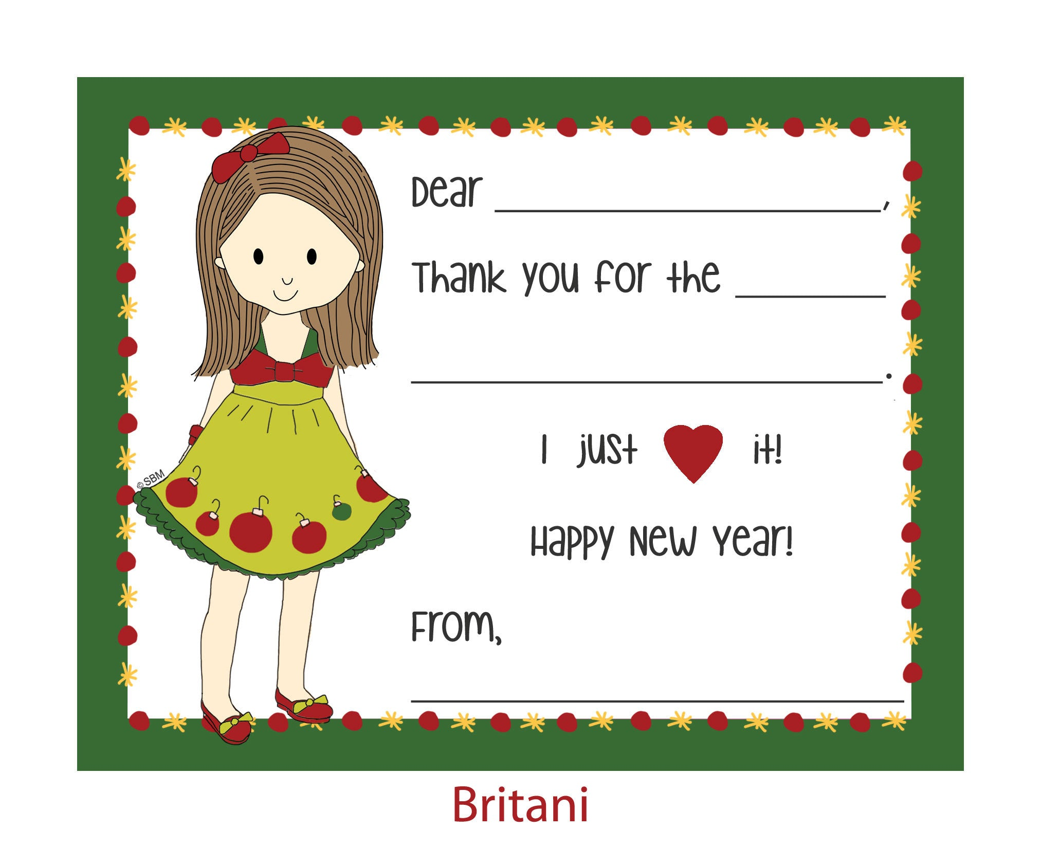 Fill-In Thank You Note Cards- Holiday Style Girl