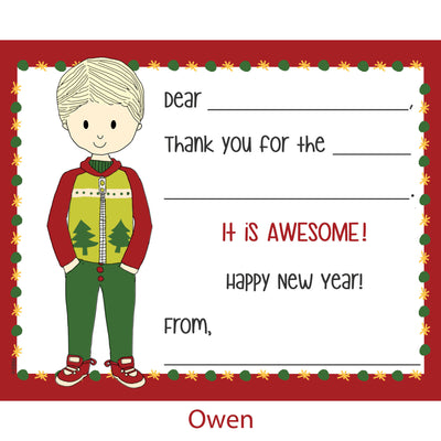 Fill-In Thank You Note Cards- Holiday Style Boy