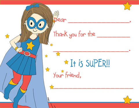 Fill-In Thank You Note Cards- Super Girl- CLEARANCE