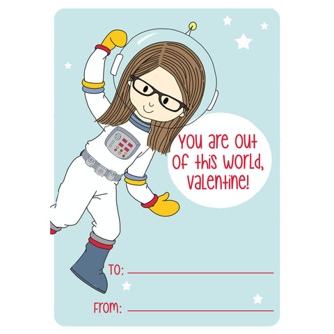 Space Girl Valentine's Day Cards