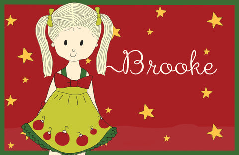 Personalized Holiday Girl Placemat
