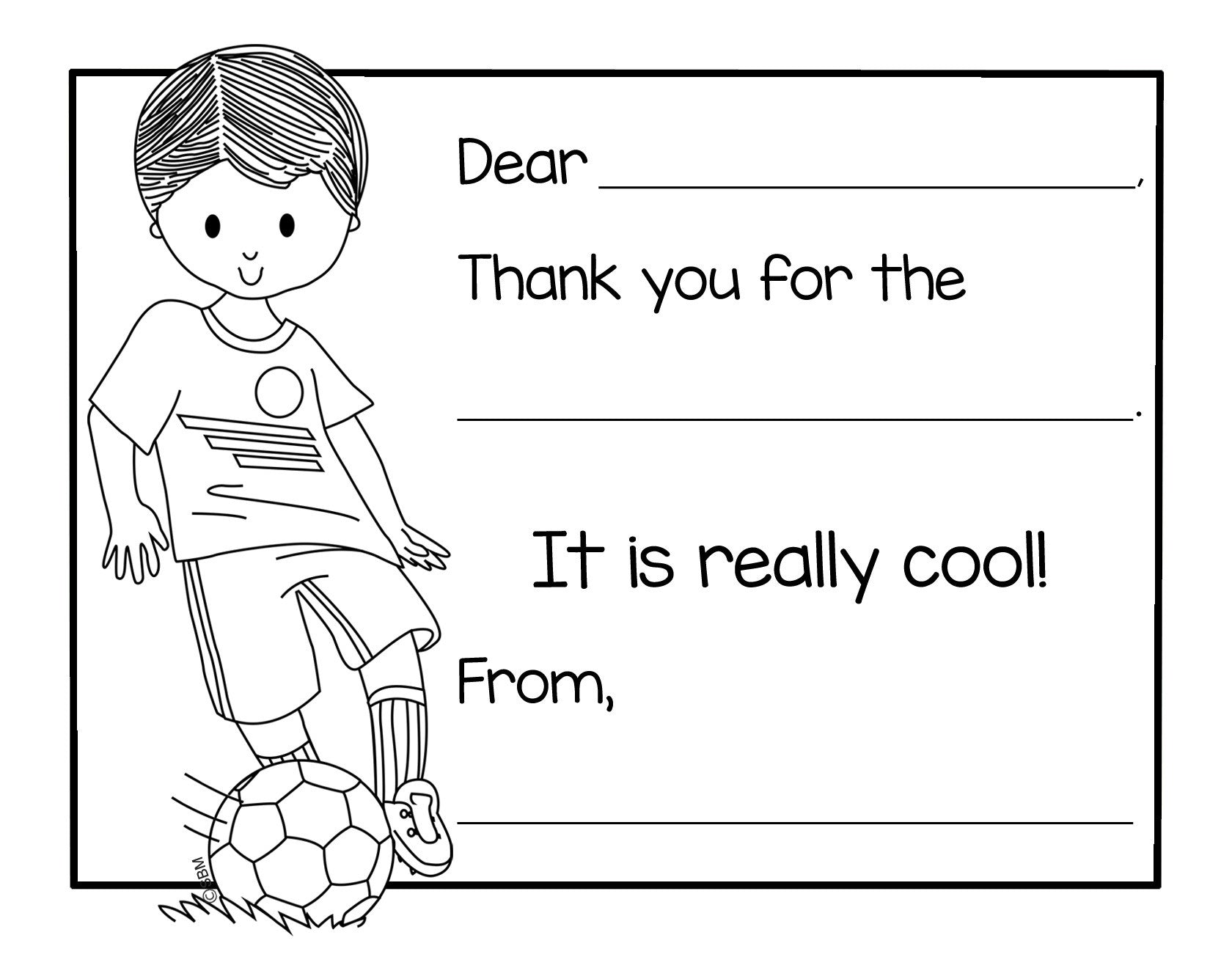 Color-In Thank You Note Card- Soccer Boy