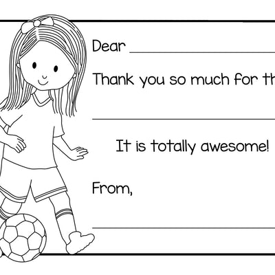 Color-In Thank You Note Card- Soccer Girl
