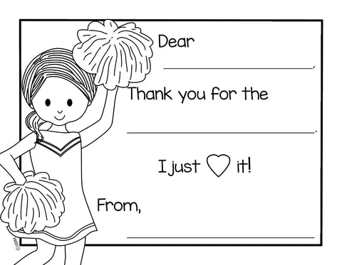 Color-In Thank You Note Card- Cheerleader