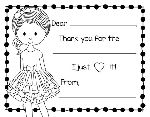 Color-In Thank You Note Card- Tutu Girl