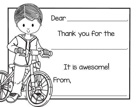 Color-In Thank You Note Card- Bike Boy
