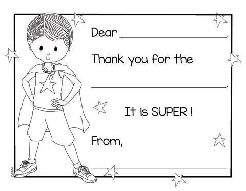 Color-In Thank You Note Card- Super Boy