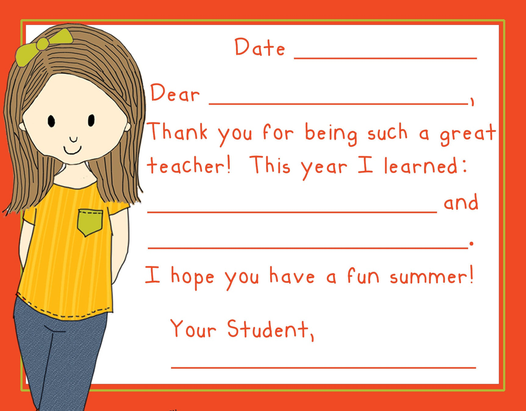 Teacher Thank You Note Cards- Denim Girl- Set of 5