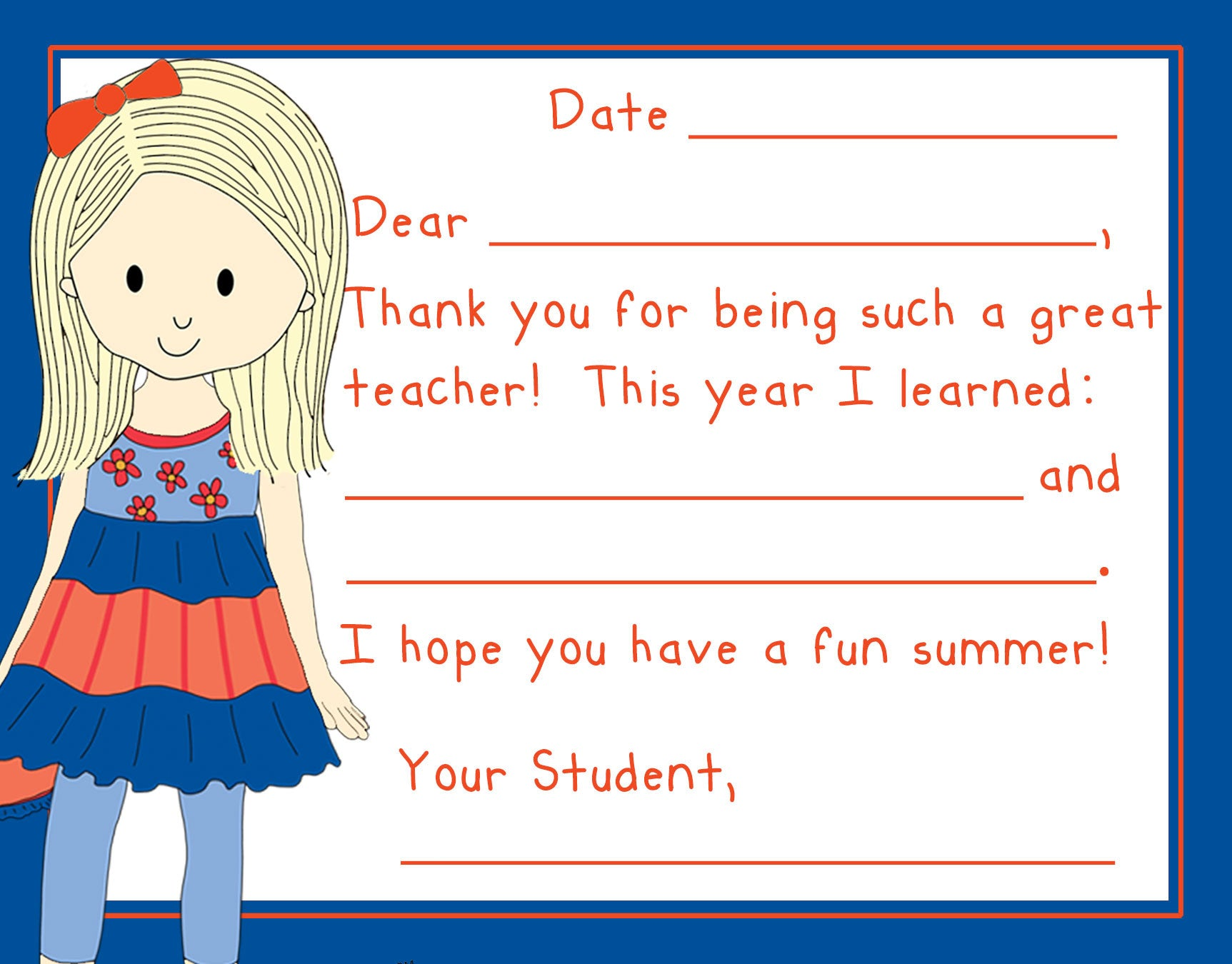 Teacher Thank You Note Cards- Lil Girlfriend- Set of 5