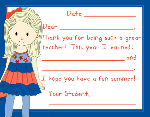 Teacher Thank You Note Cards- Lil Girlfriend- Set of 3