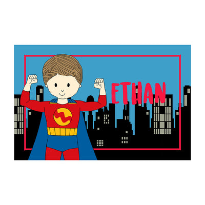 Personalized Placemat- Super Boy with Cityscape