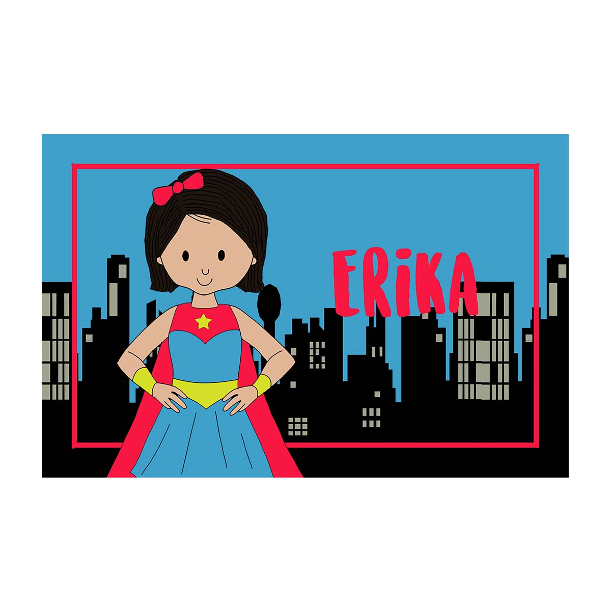 Personalized Placemat- Super Girl with Cityscape