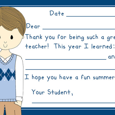 Teacher Thank You Note Cards- Preppy Boy Teacher- Set of 3