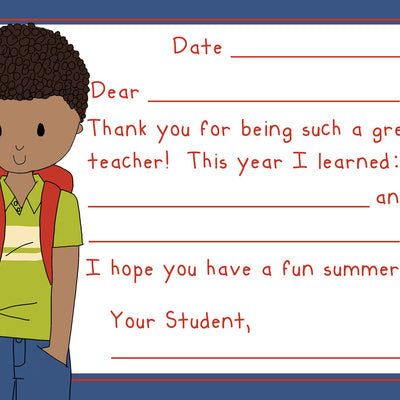 Teacher Thank You Note Cards- School Boy Teacher- Set of 5