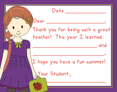 Teacher Thank You Note Cards- School Girl- Set of 3